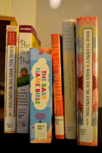 row of baby books