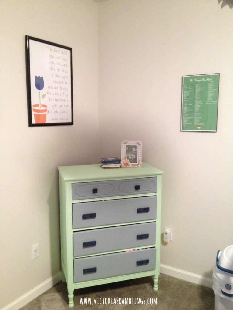 mint, gray, and navy blue nursery
